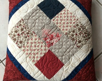 Handmade Quillow.Modern quillow. Patchwork Quillow.Red Quilt.Travel Quilt.Cushion.Home Decor.Pillow.Bedding.Gift.Patchwork Quilt.