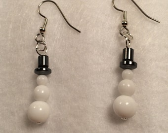 Glass and Hemalyke Snowman Earrings