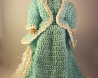 Vintage style hand crocheted blue Barbie dress with hat