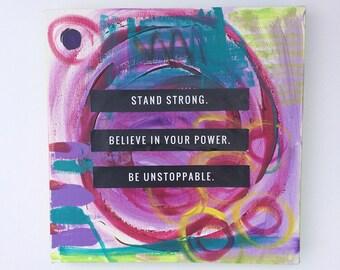 Canvas Art - Stand Strong - Inspirational Mixed Media Wall Art