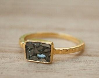 Black Diamond Ring * Gold Ring * Gold Vermeil * Diamond Gold Ring * Sparkle Ring * Engagement Ring * BJR055