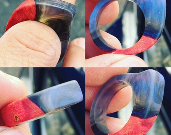 Wood Resin Ring - Iridescent Blue Resin, Red Stabilized Big Leaf Maple