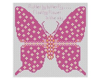 Flutterby Butterfly Cross Stitch Chart - Insect - Wildlife - Nature - Colourful - Whole Stitches - Beginner - Butterflies