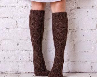 Leg warmers  Brown leg warmers Hand knit leg warmers Brown boot socks Handmade knee high wool socks Rustic wool leg warmers Cable legwarmers
