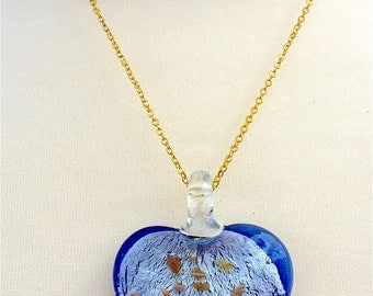 Blue Heart of Glass Necklace // Hand Crafted Glass // Gold Chain