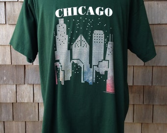 Vintage CHICAGO ILLINOIS city skyline souvenir T Shirt - XL