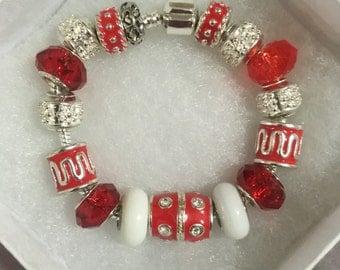 1 Pandora Inspired  Eurropean Charm Bracelet