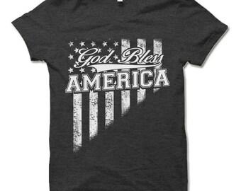 God Bless America T-Shirt. Cool Patriotic Shirt.  4th Of July Tee Shirt.