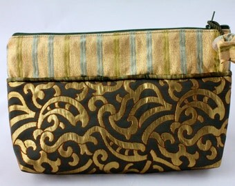 French Haute Couture fabrics for a one-of-a-kind luxury makeup purse or small clutch