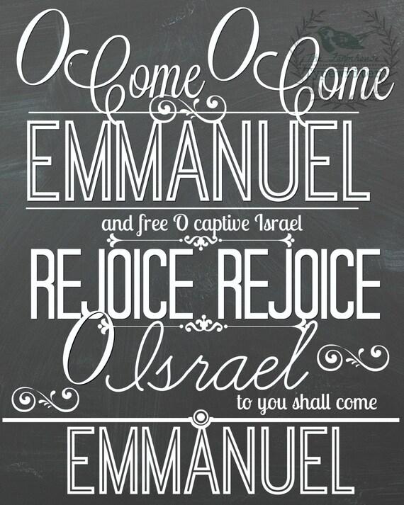 Christmas/O Come O Come Emmanuel 8 X 10 and 18 X 24 Instant Download Art