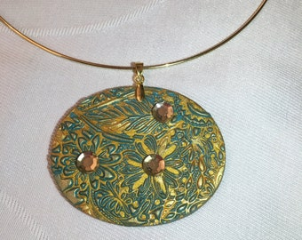 Gold polymer clay necklace