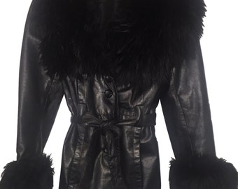 1970s Black Leather + Fur Trim Coat