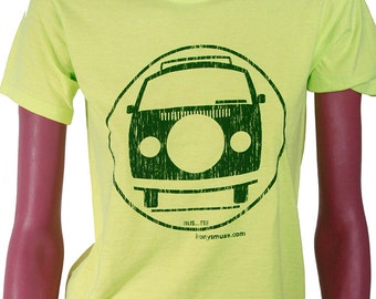 VW Bus size/Youth 10-12 Yellow-Green/Chrome Green tee shirt