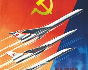 Vintage Soviet Era Aeroflot Russian Airline  Poster  A3 Print