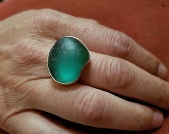 Teal surf tumbled sea glass and sterling ring