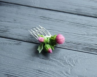 scottish thistle jewellery, flower comb, cold porcelain, bride scottish, scottish thistle hair, green headband, folk flower, scottishthistle