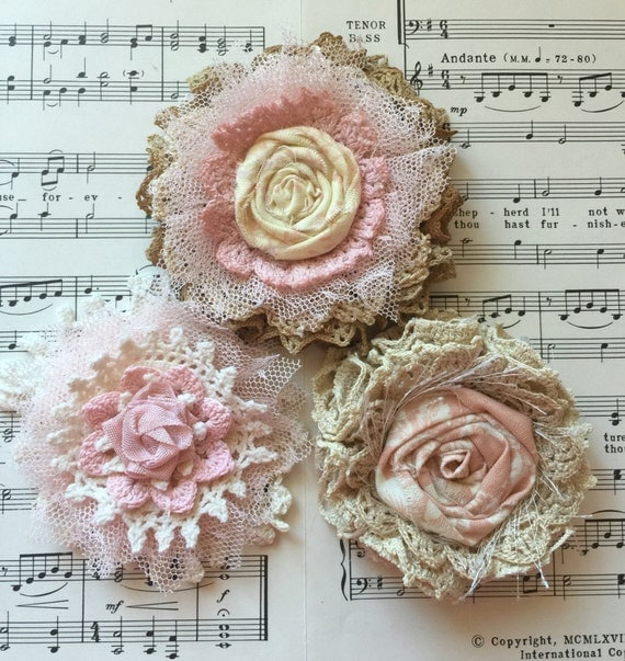 Items Similar To Shabby Chic Fabric Flower Wedding Decor