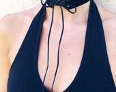 Black Velvet Choker// Velvet Lace- Up Choker// Black Velvet with Black Suede Cord// suede choker// lace-up choker// tie choker// grommets