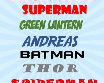 Boy's Superhero Names Printable Room Decor