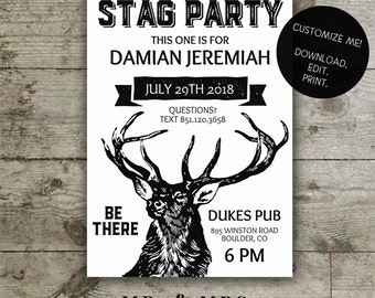 Editable Stag Party Invitation | DIY Instant Download Printable Stag Party Invite | Instant Download PDF File