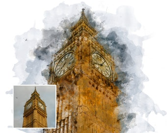INSTANT DOWNLOAD: [8X10] Big Ben in London, England Watercolor Digital Art, Download for Print, Digital File Only