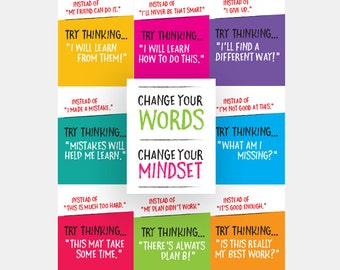Growth Mindset Posters - PRINTABLE - Bright Encouraging Inspiring Classroom Decor - Teacher Student Classroom Resources