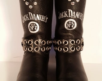 Size 7.5 M Upcycled Women's Black Jack Daniels Brand Boots