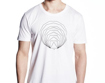 Minimal T-shirt, Geometric Shape, Men's T Shirt, Geometry Tshirt, Organic Cotton, White Tee, Triangle to Circle Geometry, Simple design