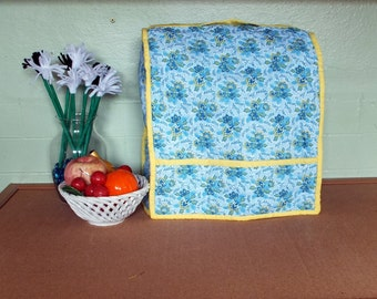 Kitchen Decor, Dust Cover, Blue and Yellow, Floral Decor, Quilted Gift, Small Mixer Cover, Gift Idea, Florist Gift, Appliance Cover, Gift