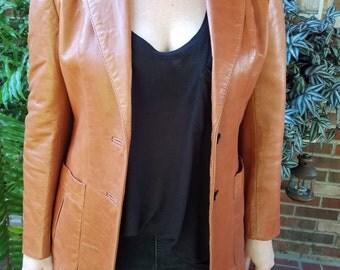 70s Leather Blazer, Womens Leather Blazer, Vintage Brown Leather, Brown Leather Blazer, Brown Leather Jacket, Womens Leather Jacket