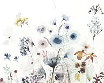 "Secret Garden - Original Watercolor Painting 12"" x 12"" Artwork"
