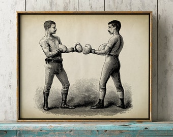 BOXING POSTER art print, male sport wall art, vintage Boxing art, victorian men fighting in black and white, sepia color