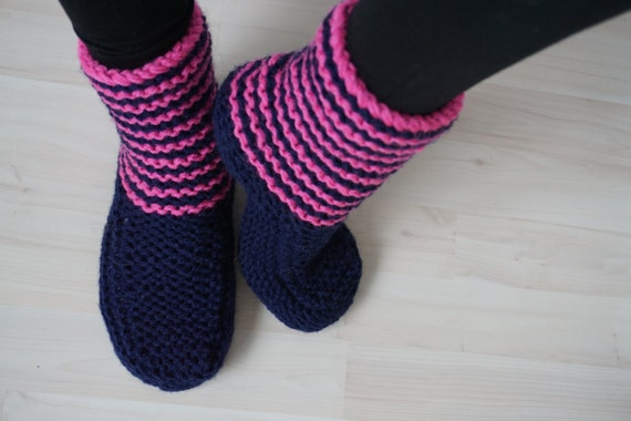 Knitted Slipper Socks, Boot Slippers, Dark Blue and Pink Knitted Slippers, Indoor Shoes, Red Christmas Socks, Christmas Gift for Her,