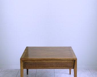 boho hollywood regency TIKI LOUNGE mid century modern CANE drawer side table