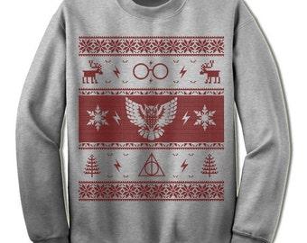 Owl Ugly Christmas Sweater Sweatshirt. Scandinavian Motive Sweater. Ugly Christmas Sweater Gift Party Nordic Eyeglasses Reindeer Sweater.