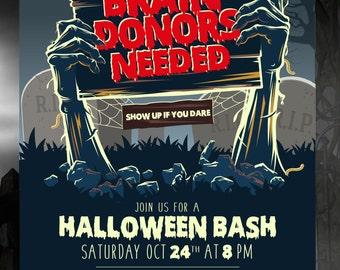 Brain Donors Needed Zombie Halloween Bash Invite