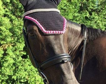 Handmade Black & Pink Horse Bonnet