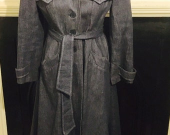 Striking vintage denim trench coat