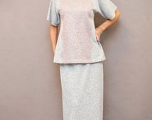 Homewear, 2 piece grey homewear, Sweater with lace, Short leeve jumper, Sweater with pink lace, Maxi skirt, Cotton homewear, Pajama set