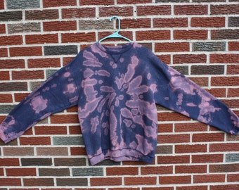 bleach tie dye sweatshirt, handmade tie dye sweatshirt, spiral, bleached blue