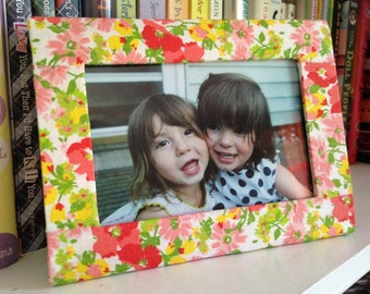 Patterned Fabric Covered Picture Frame