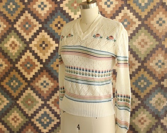 1970s striped & pointelle sweater . needlepoint pattern sweater . 70s 80s pointelle sweater . cream sweater
