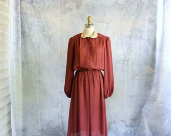 sheer 1970s secretary dress . elastic waist dress . long sleeve blouson dress, 70s 80s does 40s