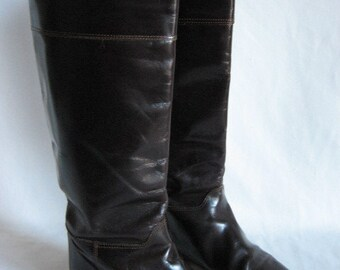 Vintage 80's Size 5.5 Riding Boots dark brown leather flats Made in Italy shoes