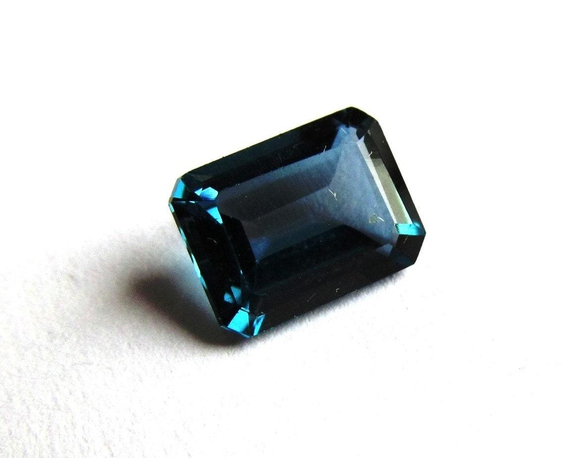 8x6mm emerald cut london blue topaz solitaire loose gemstone
