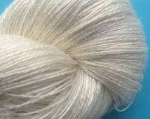 LACE  Silk Linen Undyed Yarn, 2 Ply Undyed Lace Yarn, Lace Weight Bombyx Silk Linen Ivory Undyed Yarn Blank