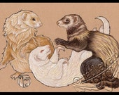 Animal Art Print Ferret Art Animal Illustration Ferret Print Nursery Room Decor Ferret Wall Art Wall Decor Ferret Lover Gift Pet Owner Gift