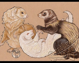 Animal Art Print Ferret Art Animal Illustration Ferret Print Nursery Room Decor Ferret Wall Art Wall Decor Ferret Lover Gift Pet Owner Gift