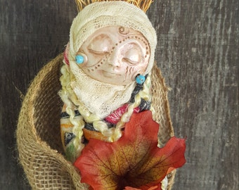 Mabon Moon, Autumn Equinox, Figurative Sculpture, Assemblage Art Doll, Button Collector