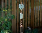 Wind Chimes Beach Stone and Copper with Brass Chimes windchime